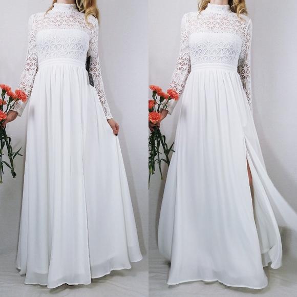 0acbc5c77f59e In Dreams White Long Sleeve Lace Lulus Maxi Dress NWT